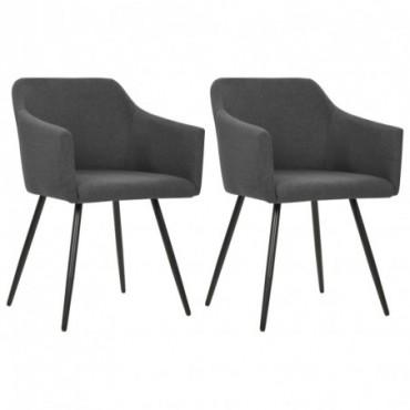 Chaise de table x2 Gris foncé en tissu