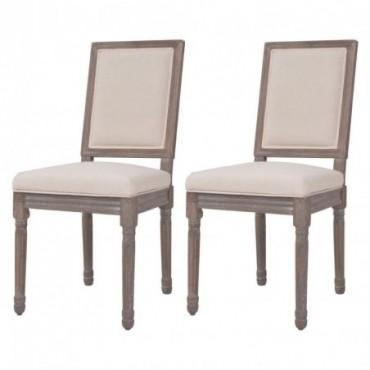 Chaise de table néoclassique x2 en lin Blanc crème 47x58x98cm