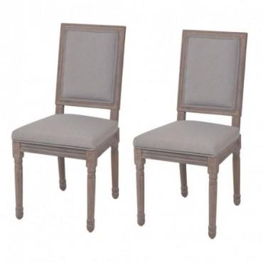 Chaise de table néoclassique x2 en lin Gris clair 47x58x98cm