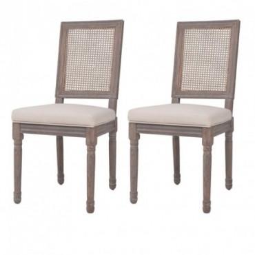 Chaise de table néoclassique x2 en lin en rotin Blanc crème 47x58x98cm