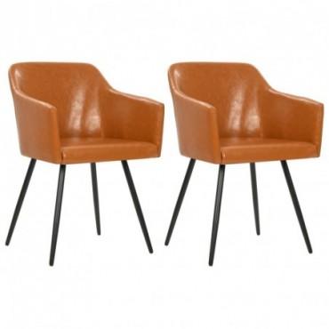 Chaise de table vintage x2 Marron en similicuir