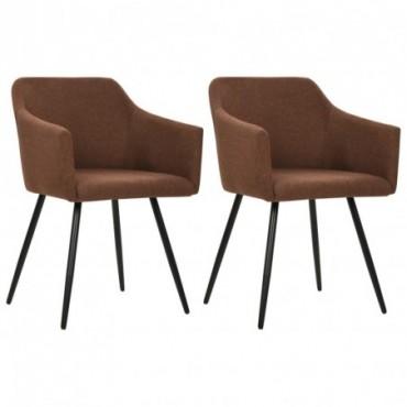 Chaise de table vintage x2 Marron en tissu