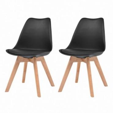 Chaise de table scandinave x2 en similicuir en bois massif Noir