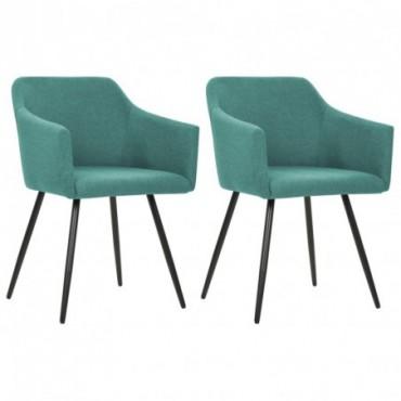 Chaise de table x2 Vert en tissu