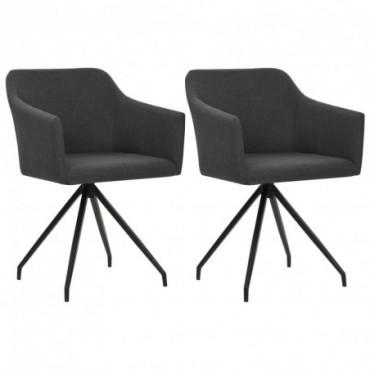 Chaise de table pivotante x2 Gris foncé en tissu