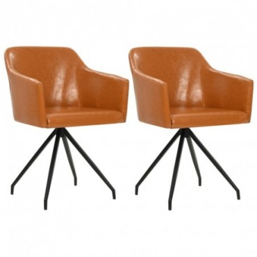 Chaise de table pivotante x2 Marron en similicuir