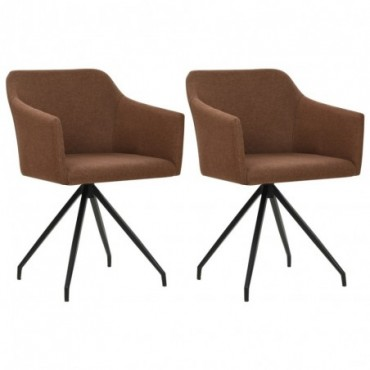 Chaise de table pivotante x2 Marron en tissu