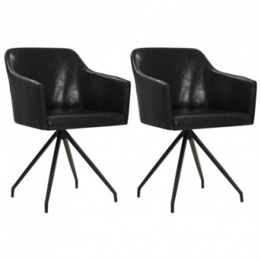 Chaise de table pivotante x2 Noir en similicuir