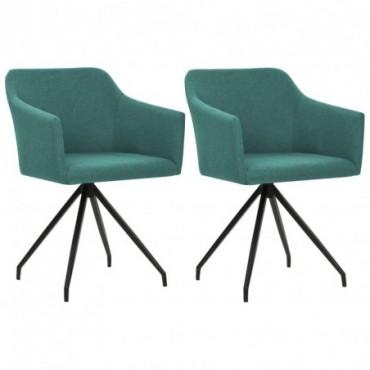 Chaise de table pivotante x2 Vert en tissu