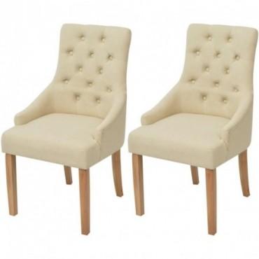Chaise de table baroque x2 en bois de chêne en tissu Crème