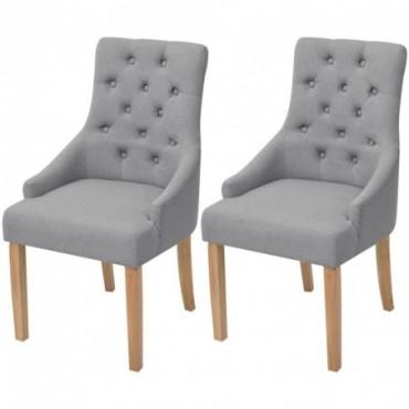 Chaise de table baroque x2 en bois de chêne en tissu Gris clair
