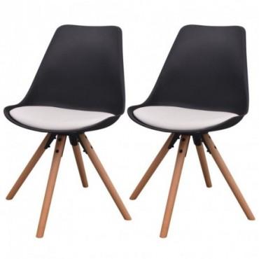 Chaise de table scandinave x2 en cuir artificiel Noir et blanc