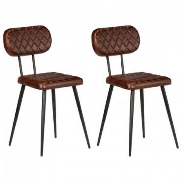 Chaise de table x2 en cuir véritable Marron 42x47x76cm (IxPxH)