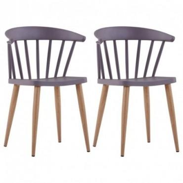 Chaise de table à barreaux x2 Gris en plastique et en acier 52x47x75cm