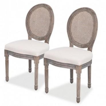 Chaise de table baroque x2 en lin et en rotin