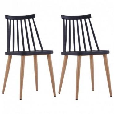 Chaise de table à barreaux x2 Noir en plastique et en acier...