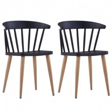 Chaise de table à barreaux x2 Noir en plastique et en acier 52x47x75cm