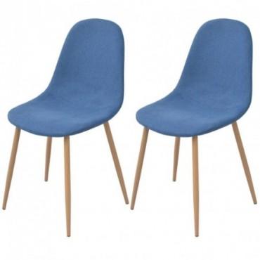 Chaise de table x2 en tissu Bleu 45x55x85cm