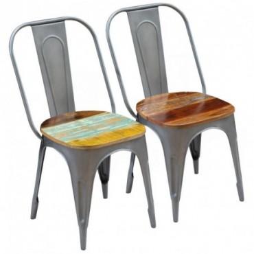 Chaise de table style Tolix x2 en bois recyclé 47x52x89cm