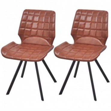 Chaise de table vintage en cuir artificiel x2 Marron