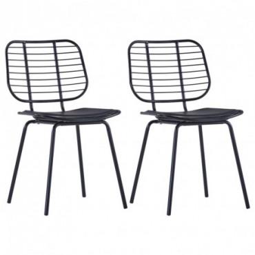 Chaise de table Siège en similicuir x2 Noir en acier 48x55x82,5cm