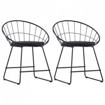Chaise de table Siège en similicuir x2 Noir en acier 58x51x72,5cm
