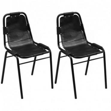 Chaises salle à manger x2 en cuir Noir 49x52x88cm