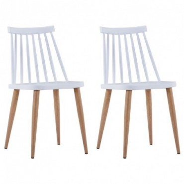 Chaise de table à barreaux x2 en plastique blanc 42x45,5x78cm