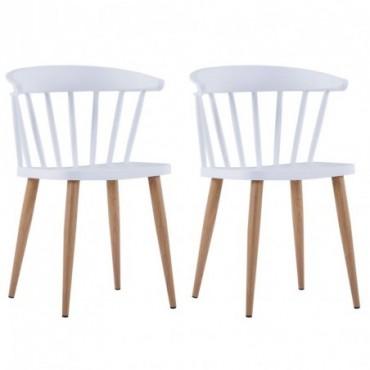 Chaise de table à barreaux x2 en plastique blanc 52x47x75cm