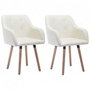 Chaise de table x2 Revêtement en tissu Crème 55x55x84cm