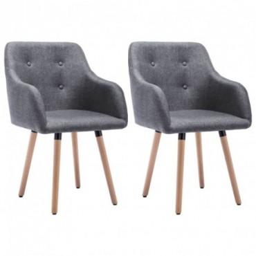 Chaise de table x2 Revêtement en tissu Gris clair 55x55x84cm