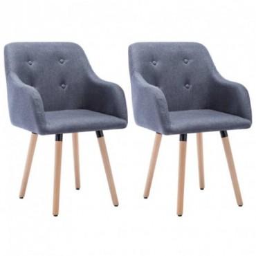 Chaise de table x2 Revêtement en tissu Gris foncé 55x55x84cm