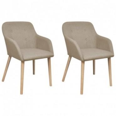 Chaise de table x2 avec cadre en chêne en tissu Beige 52x57x76,5cm