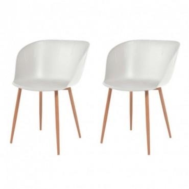 Chaise de table x2 Blanc en plastique et en acier 50,5x55x79cm