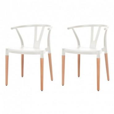 Chaise Y x2 Blanc en plastique et en acier 52,5x56,3x74cm
