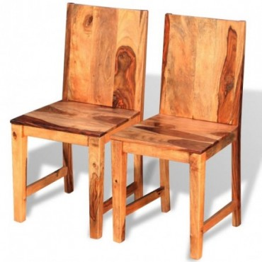Chaise de table x2 en bois massif de sesham dossier plein