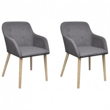 Chaise de table x2 Cadre en chêne en tissu Gris foncé 52x57x76,5cm