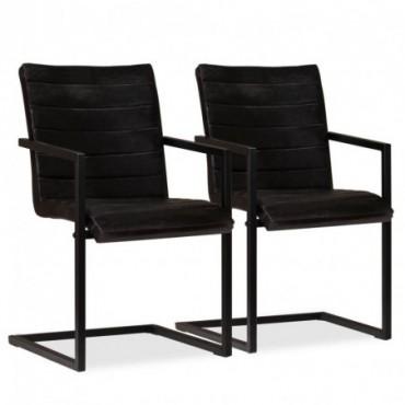 Chaise de table x2 en cuir véritable Anthracite