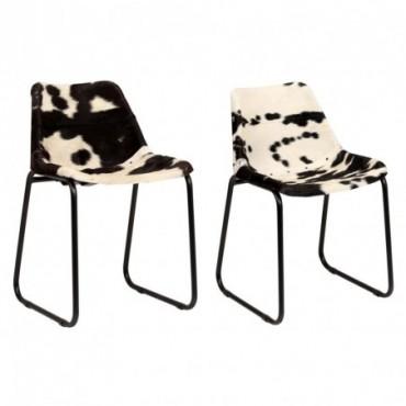 Chaise de table x2 en cuir véritable de chèvre