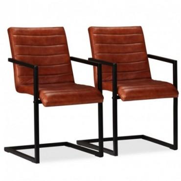 Chaise de table x2 en cuir véritable Marron 51x56x91cm