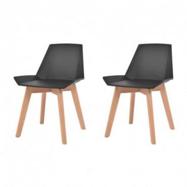 Chaise de table scandinave x2 Noir en plastique et hêtre