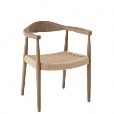 Chaise Bernard Bois/Textile Naturel
