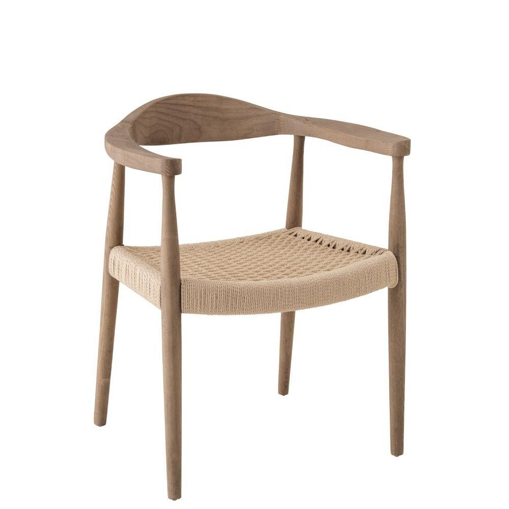 Chaise Fer Forgé Et Bois chaise bernard bois/textile naturel de marque j-line