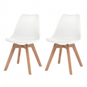 Chaise de table scandinave x2 en similicuir en bois massif Blanc