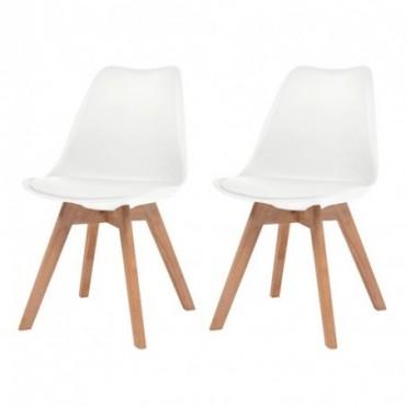 Chaise de table scandinave x2 en similicuir en bois massif Blanc