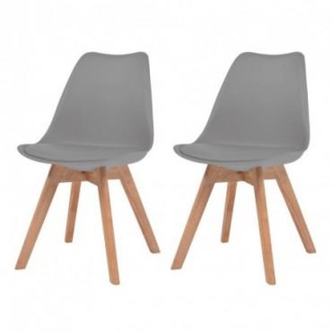 Chaise de table scandinave x2 en similicuir en bois massif Gris