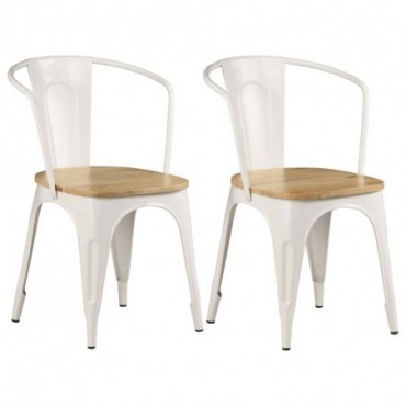Chaises à dîner x2 en bois de manguier Blanc 51x52x84cm