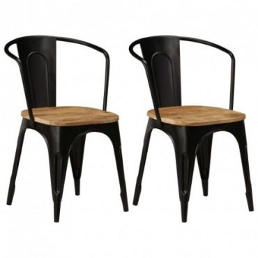 Chaises à dîner x2 en bois de manguier Noir 51x52x84cm