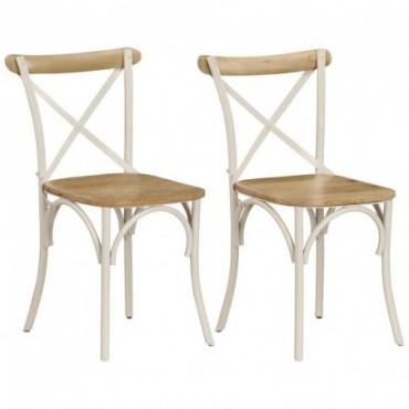 Chaises à dossier croisé 2pièces en bois de manguier Blanc 51x52x84cm