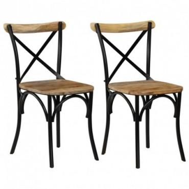 Chaises à dossier croisé 2pièces en bois de manguier Noir 51x52x84cm